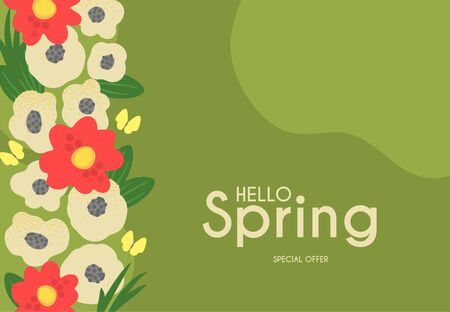 Hello, Spring Cute floral background with trendy shape flowers. Ilustração