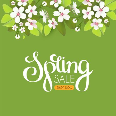 Spring sale. Seasonal offer poster template with flowers and lettering. Realistic apple blossom. Vector Illustratie