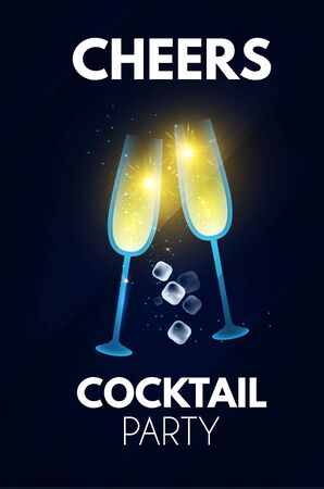 Cheers Cocktail party and champagne poster template.