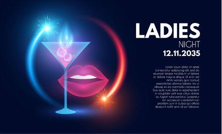 Ladies Night party poster template. Bar menu shining design.