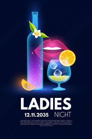 Ladies Night party poster template. Bar menu shining design.