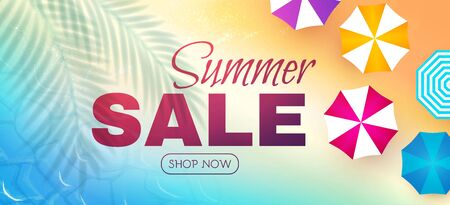 Summer sale poster template. Hot season offer background with beach and ocean. Summer vacation. Umbrellas top viev. 向量圖像