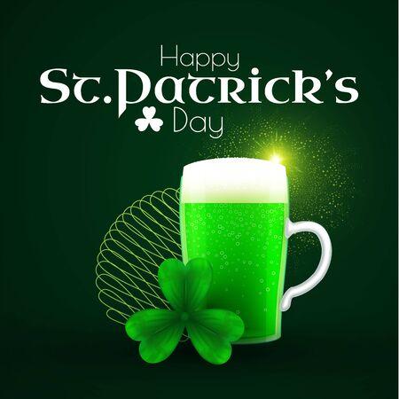 St Patrick s Day poster template with shamrock, clover leaf,beer mug and light.