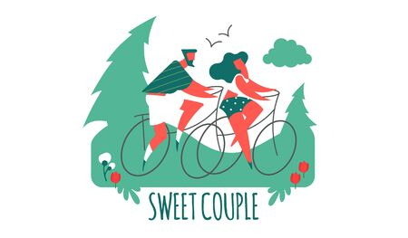 Couple on bicycles. Man and girl. Sport and vacation travel. Stylised people. Stock Illustratie