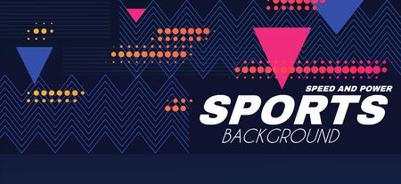 Abstract sport background with moving geometric elements. Trendy design.