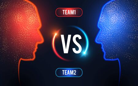 Versus. Sport competition template with men's heads silhouette and light. Team design. 矢量图像