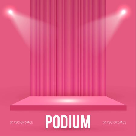 Square Podium. Scene, pedestal and 3D platform with spotlights and stage curtain. Advertising, award and win design. Show and sale background. Realistic presentation mockup. Pink and gold.