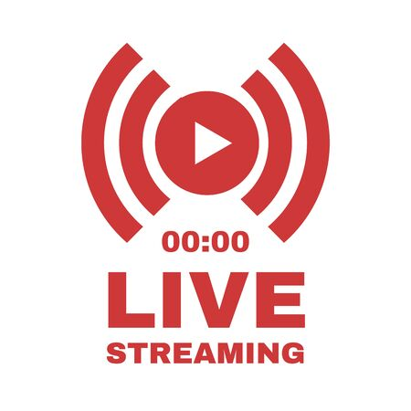 Live streaming with play button. Online stream sign. Flat simple design.