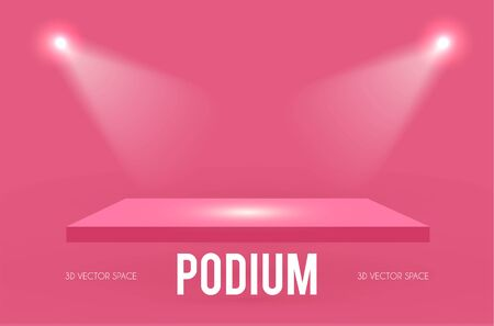 Square Podium. Scene, pedestal and 3D platform with spotlight. Advertising, award and win design. Show and sale background. Realistic presentation mockup. Pink and gold.