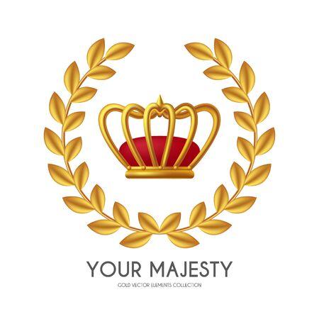 Sie gewinnen den ersten Platz und prämieren Design mit Krone und goldenem Kranz. Luxus-Element.