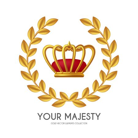 You win First place and award design with crown and golden wreath. Luxury element.