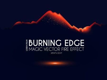 Burining ragged edge shining design. Fire and light effect.