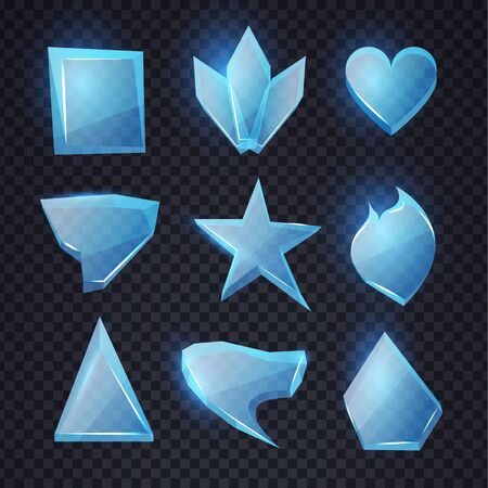 Cartoon blue glass banners set. Chrystal shapes. Transpatern glossy elements with light. Game design.