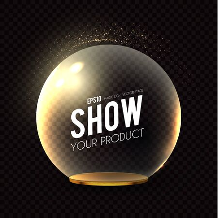 Glass Dome with golden plate on transparent background with light effect.