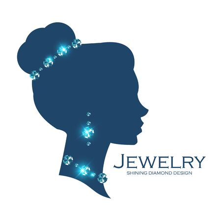 Jewelry shop adverticing template.Female head silhouette with diamonds. Illustration