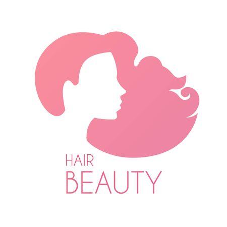 Hair care logo design. Female silhouette with long hair. Beauty design.