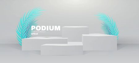 3D podium. Realistic minimal empty scene. Showcase and shelf. Round empty stage with palm leafs and shadow. Illusztráció