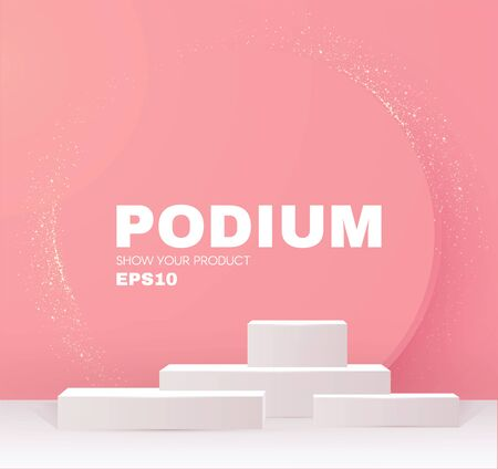 3D podium. Realistic minimal empty scene. Showcase and shelf. Trendy empty stage. Illusztráció