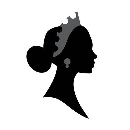 Female head silhouette. Beauriful girl. Woman portrait.