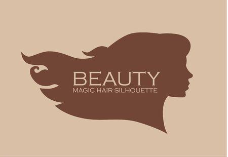 Female head silhouette. Beauriful girl. Woman with long hair. Portrait. 向量圖像