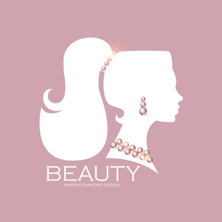 Female head silhouette with pearls. Beaty care. Jewelry shop adverticing template. Illustration