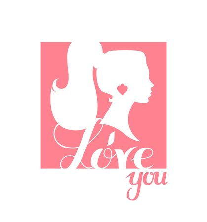 I love you print design template with lettering and beautiful girl silhouette.