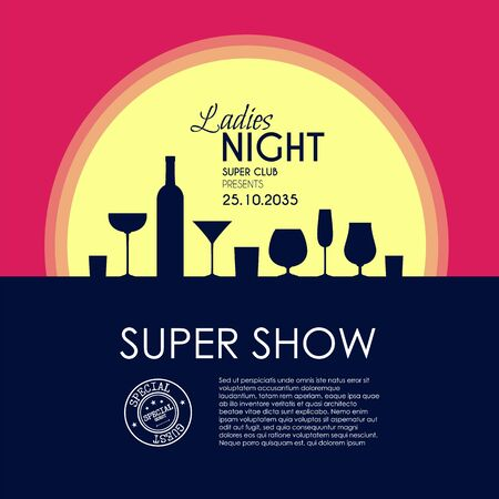 Ladies night party flyer template with cocktail glasses and moonlight. Illustration