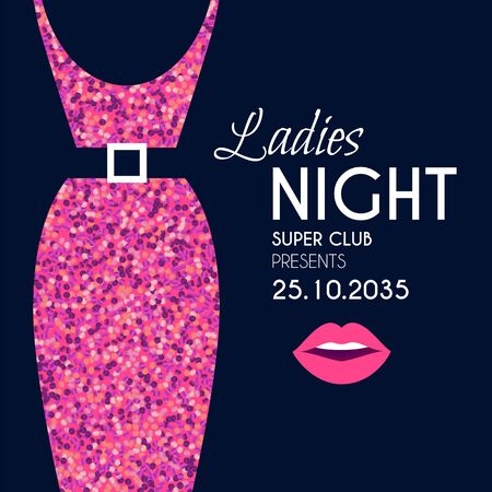 Ladies night glamour party flyer template withelegant dress silhouette and lips. Illustration