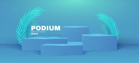 3D podium. Realistic minimal empty scene. Showcase and shelf. Round empty stage with palm leafs and shadow. Vecteurs