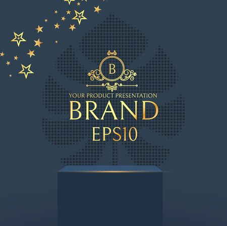 3D elegant podium with gold stars. Realistic minimal empty scene. Showcase and shelf. Empty stage.