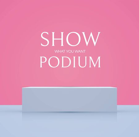 3D podium with soft reflection. Realistic minimal empty scene. Showcase and shelf. Trendy empty stage.