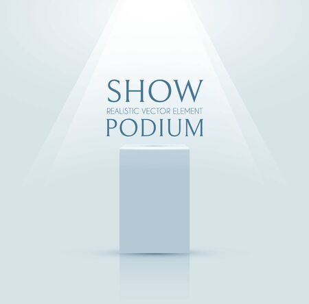 3D podiumwith soft spotlight. Realistic minimal empty scene. Showcase and shelf. Trendy empty stage.