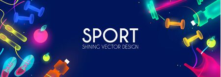 Sport and fitness shining background. Cool training equipment.  イラスト・ベクター素材