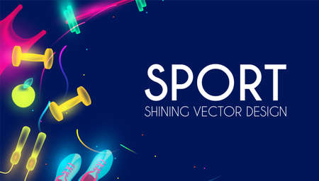 Sport and fitness shining background. Cool training equipment. Vettoriali