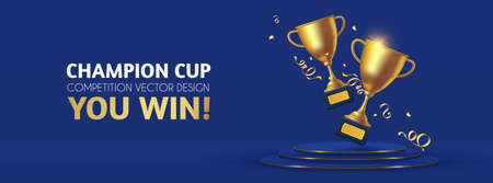 Realistic golden champion cup with circle podium. Isolated trophy winner gold cup. Award design.