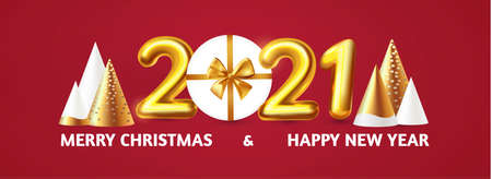 Happy New 2021 Year Party poster template with 3D realistic text, stylised fir trees and gift box. Festive design. Christmas flyer template.