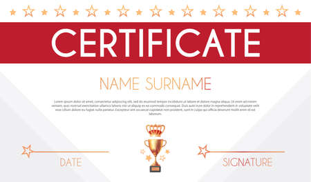 Win certificate design template. Diploma design with champion cup and crown. Award, competition and win design.