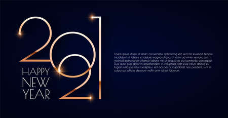 Happy new 2021 year Elegant gold text with light. Minimalistic text template.  イラスト・ベクター素材
