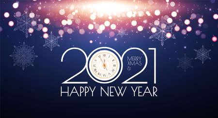 2021 Happy New Year bokeh background. Shining light effect.