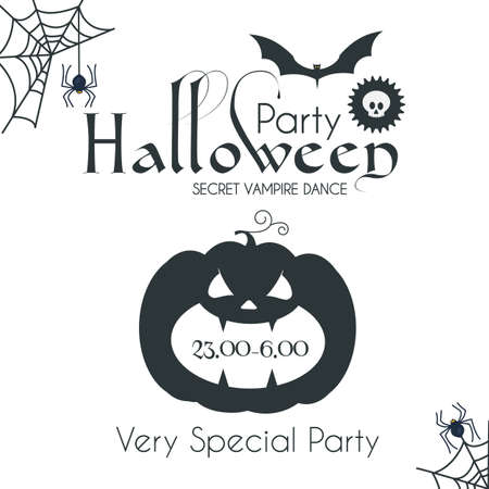 Halloween Party Silhouette Design Template with Pumpkin, Cobweb, Spider and Bat