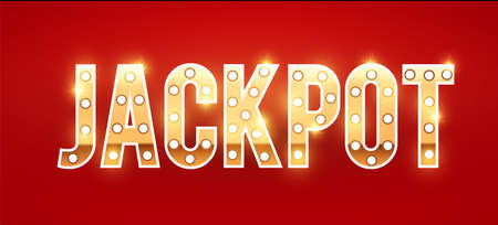 Jackpot shining gold banner with light bulbs and effects. Ilustração