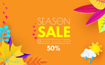 Autumn Sale. Seasonal Offer Poster Template with Colorful Leaves. Paper Art.