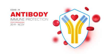 Blood, Shield and Antibody. Healthcare 3D design. Stop Coronavirus 2019-nCoV background. Virus Covid 19-NCP. Coronavirus nCoV and biohazard symbol. Epidemic concept.