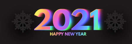 Happy New 2021 Year Elegant Design with neon rainbow new year number and black paper snowflakes.