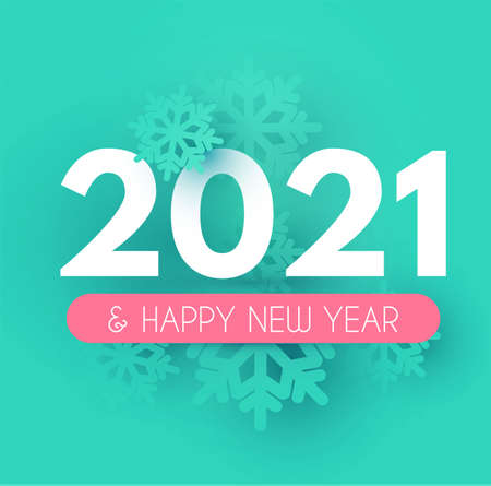 Happy New 2021 Year Soft background with snowflakes.