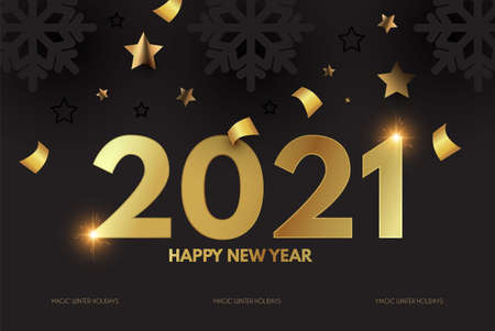 Happy New 2021 Year Elegant Design with gold shining year number, confetti and black paper snowflakes.