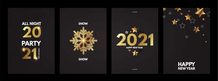 Happy New 2021 Year Elegant poster template set with gold shining year number, confetti and snowflakes.