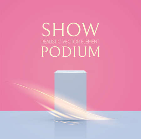 3D podium with wave light effect. Realistic minimal empty scene. Showcase and shelf. Trendy empty stage.