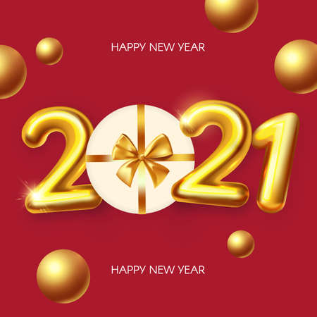 Happy New 2021 Year Realistic 3D golden sign with serpentine and gold balls.  イラスト・ベクター素材