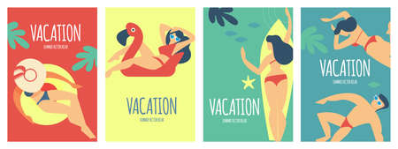 Summer vacation poster set with relaxing people on a beach. Sea holidays.